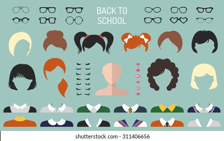 Back to school icon constructor. Big vector set of dress up constructor with different student girl haircuts, glasses, lips, wear in trendy flat style. Faces creator.