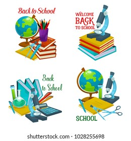 Back to school icon with school supplies. Book and pencil with pen, globe and calculator, scissors, notebook and microscope, laboratory tube and flask isolated symbol for education themes design