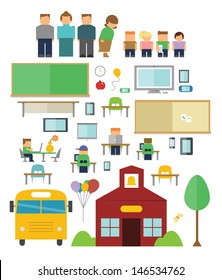 Back to School Icons include: schoolhouse, school bus, chalkboard, pin board, students, teachers, desks, chairs, computers, Tablets, readers, portable game devices and balloons.