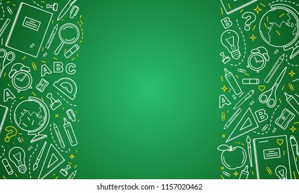 Back to school. School icons on green board.