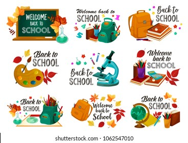 Back to School icons of stationery geography globe, lesson bag or math calculator, paint brush and maple leaf or microscope. Vector Hello School set of chalkboard, pen or pencil and mathematics book