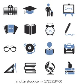 Back To School Icons. Two Tone Flat Design. Vector Illustration.
