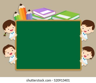 Back to school illustration with boy and girl in school uniform.back to school chalkboard background with group of children.Children near the school board for education concept design