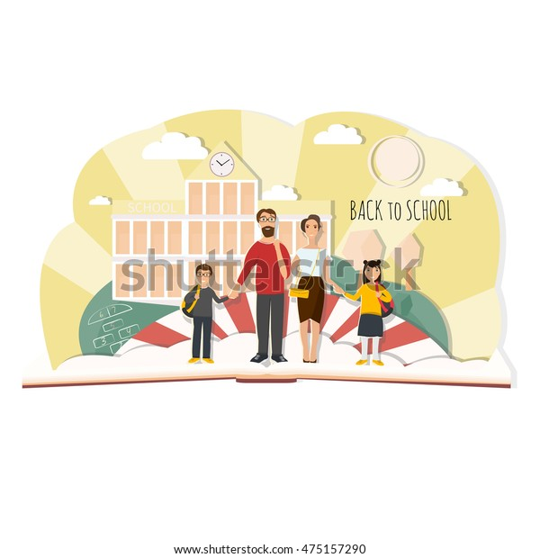 Back School Illustration Family Mother Father Stock Vector