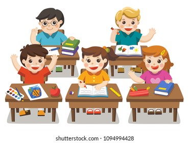 Back to school. Illustration of Happy students studying in classroom.