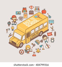 back to school illustration outline character and icons