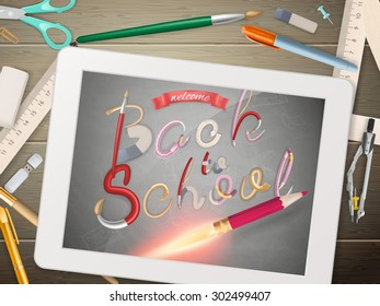 Back to school illustration with tablet. EPS 10 vector file included