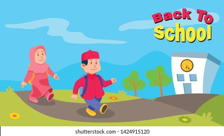 Back to school illustration theme for moslem kids. Fit on 1366 x 768 pixel size.