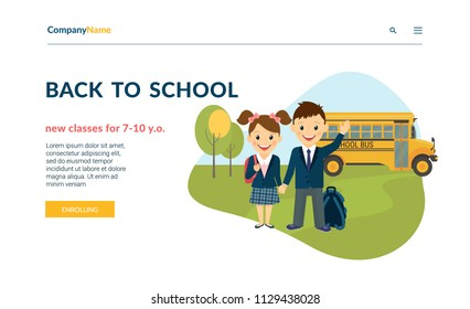 Back to school illustration of two happy pupils wearing uniform and bus behind them. Flat concept vector website template and landing page design of preschool classes and courses enrolling services