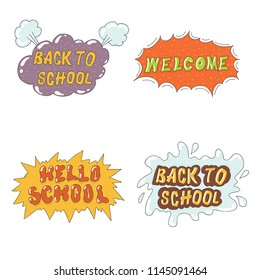 Back to school illustration Vector comics Graphity lettering