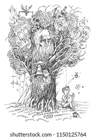 Back to school illustration.Tree of Knowledge. Boy reads the book and makes a discovery. Metaphor of scientific thought. Sketch in vintage style, vector lineart hand drawn illustration