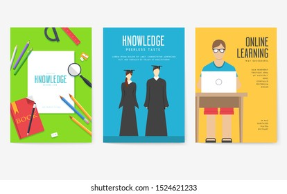 Back to school information cards set. Student template of flyer, magazines, posters, book cover, banners. College education infographic concept background. Layout illustrations modern
