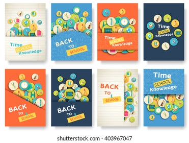 Back to school information pages set. Education template of flyear, magazines, posters, book cover, banner. Exam infographic concept background. Layout illustration template pages with typography text