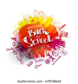 Back to school ink splash background with hand drawn doodles. Lettering back to school super sale for business banners, posters, flyers. Creative sketch design for back to school advertising