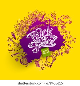 Back to school ink splash background with hand drawn doodles. Lettering  for banners, posters, flyers. Creative sketch design advertising