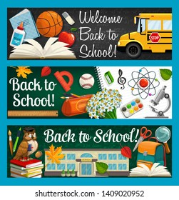 Back to school inscriptions on blackboard and stationery items. Vector bus and open book, glue and basketball ball. Pencil case, flower bouquet, building and backpack, magnifier and scissors, owl bird