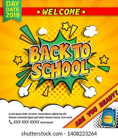 Back to school invitation banner with handdrawn lettering in comic boom explosion bubble on halftone background. Welcome poster for rducation design. Template for flyers, cards. Vector illustration.