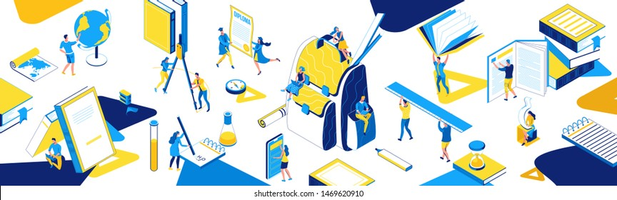 Back to school isometric horizontal banner, learning people set, 3d students read book, library, learn lesson, class concept, backpack, college pupil, blue, yellow, stationery, creative characters