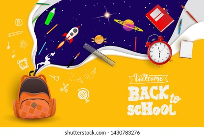 Back to school with school items and elements. space imagination. background and poster or promotion back to school