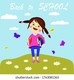 back to school joy clouds glade Sunny day flowers butterflies girl holding books textbooks postcard illustration poster website EPS