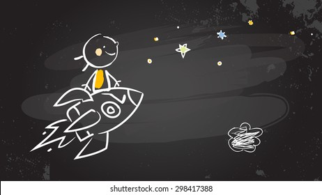 Back to school kid riding a rocket, chalk on blackboard. Sketchy doodle style scribble, vector illustration.