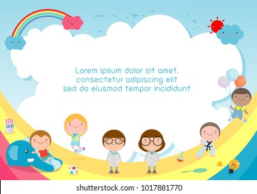 back to school, kids school, education concept, child and books, Template for advertising brochure, your text ,Vector Illustration