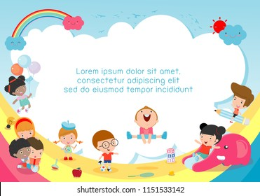 back to school, kids school, education concept, Kids go to school, Template for advertising brochure, your text,Kids and frame,child and frame,Vector Illustration, cartoon happy children.Illustration