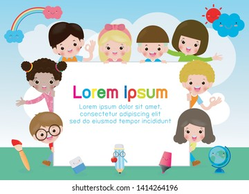 back to school, kids school, education concept, Kids go to school, Template for advertising brochure, your text,Kids and frame,child and frame,Vector Illustration