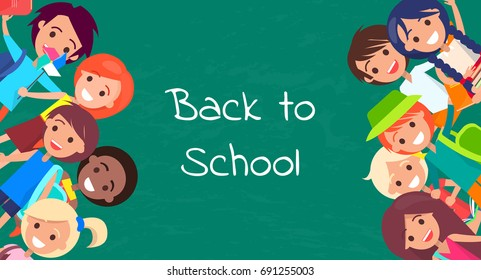 Back to school kids isolated vector illustration with inscription on green background. Joyful children during classes or on break