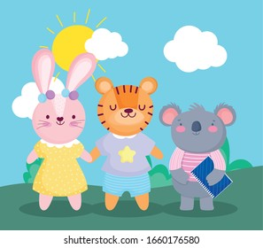 back to school, koala with book and tiger rabbit cartoon vector illustration