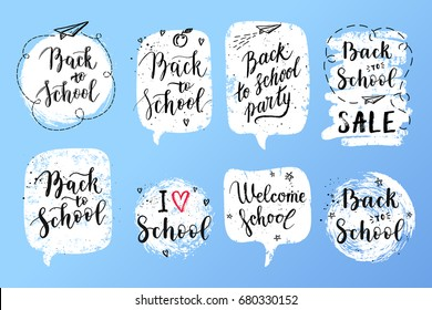 Back To School Labels Greeting Cards Set Vector Quote I Love