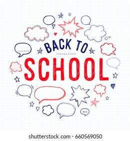 Back to school. Lettering and speech bubbles on lined notebook paper