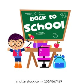 Back to School Little Boy Cartoon Vector Template Design Illustration
