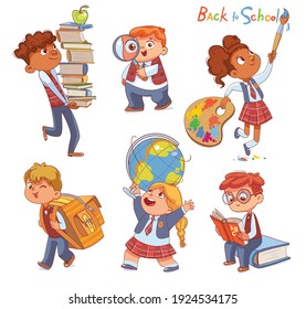 Back to school. Little children holding school stationery. Set. Stacks of books. Magnifying glass. Schoolbag. Globe. Brush and palette. Funny cartoon characters. Vector illustration. Isolated on white