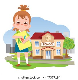 Back to school. Little girl stands on the background of school building. She holds a textbook. Vector illustration