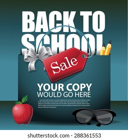 Back to School marketing background. EPS 10 vector Illustration for greeting card, ad, promotion, poster, flier, blog, article, social media, marketing