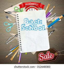 Back to School marketing background. For greeting card, ad, promotion, poster, flier, blog, article, social media. EPS 10 vector file included