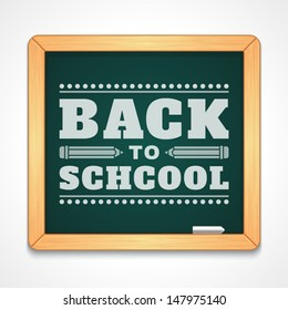 Back to school message on blackboard hand draw vector illustration