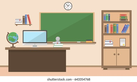 Back to school. New Classroom school in vector flat style.