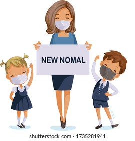 Back to school for new normal concept. Children wearing sanitary masks. Teachers, students and friends at the school. Children in uniform. coronavirus related