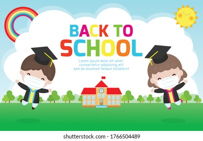 Back to school for new normal lifestyle concept, Graduation kids wearing face mask for prevent coronavirus 2019 nCoV or covid-19, happy child graduates jumping, Graduates in gowns with diploma vector