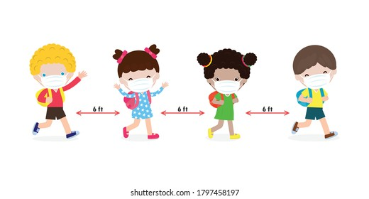 Back to school for new normal lifestyle concept. happy kids wearing face mask and social distancing protect coronavirus covid 19, group of children and friends go to school isolated on background