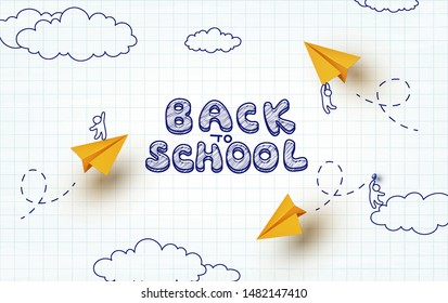 Back to school notebook background. Drawing little men flying on yellow paper airplanes. Vector cartoon school children and planes.