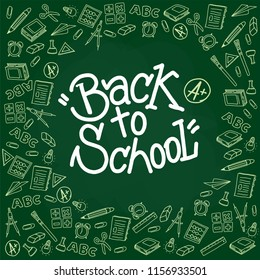 Back to school on blackboard and background