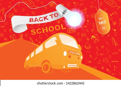 Back to School on the yellow bus. Super Sale 50% special offer. Set icons with ribbon and realistic light bulb with lighting. Flat Vector Illustration EPS10.