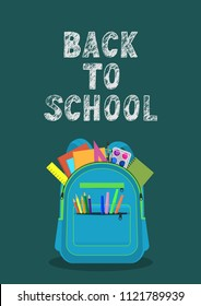 Back to school. Open school backpack full of stationery with handwritten lettering on teal background. Vector illustration.