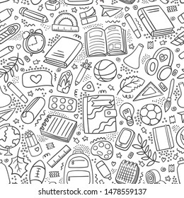 Back to school outline pattern doodle. Different school supplies and tools background First day of school. Education pattern. Pen, pencil, book, ball, globe, ball, backpack, chemistry flasks, ruler.
