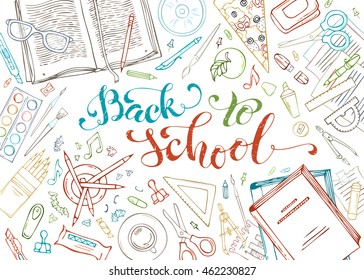 Back to school outlined decorative concept illustration. Set of doodle education elements isolated on white background. School supplies and stationery. Vector illustration.