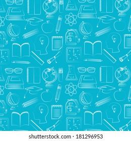 back to school over blue  background vector illustration