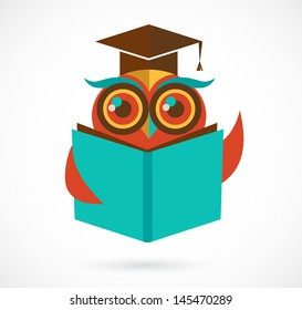 back to school owl with book and graduation cap